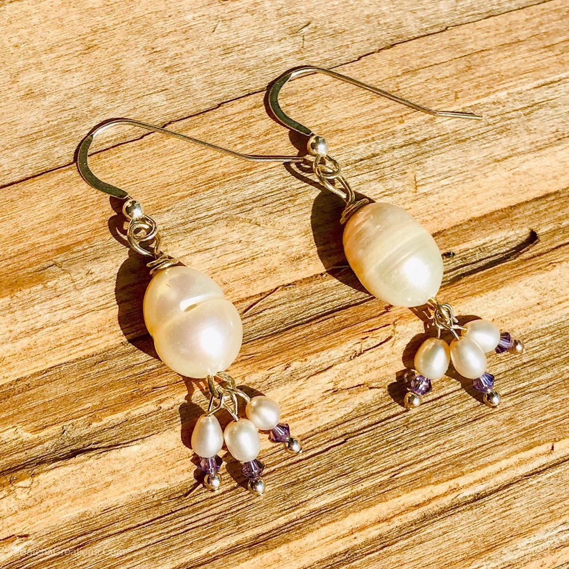 Pearl Tanzanite: Pearl & Tanzanite Earrings In Sterling Silver