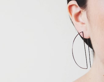 Hoop earrings black large earrings, large hoop earrings, geometric earrings, geometric hoop earrings, silver dainty hoops, black half hoops