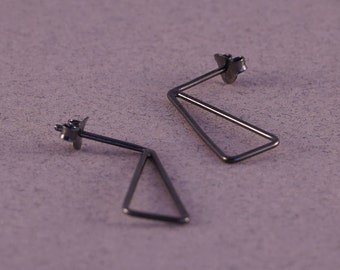 Triangle stud earrings, triangle earrings, sterling silver dainty studs, black studs, oxidized geometric earring, minimalist studs for women