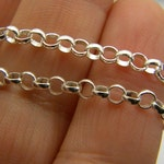 """Sterling silver rolo chain, unisex  heavy link chain, silver belcher chain necklace, 18"""" long, finished chain 925, bright 3. 5mm"""