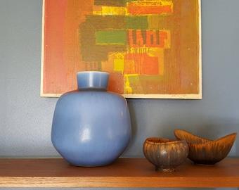 Berndt Friberg - Large stoneware vase - Blue harefur glaze - Gustavsberg - Sweden - 1962 (V167)
