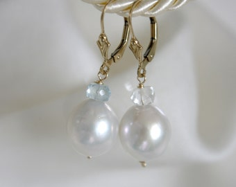 14Kt Gold Earrings pearls with aquamarine Klappbrisuren solid gold earrings pearls with Aqua Marine Leverback
