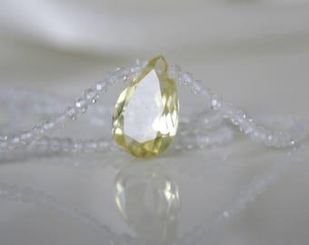 Gemstone Topaz necklace with lemon quartz pendant drop cut faceted gemstone topaz necklace with Lemonquarz pendant drop-cut faceted