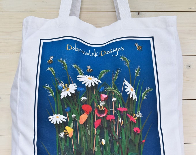 Featured listing image: Tote Bag, Meadow art, DobrowolskiDesigns, Shopping bag