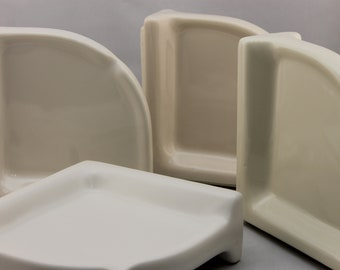 "BA-1258 NOS Ceramic Soap Dish White Large Corner Bathroom Shower 6.75/"""