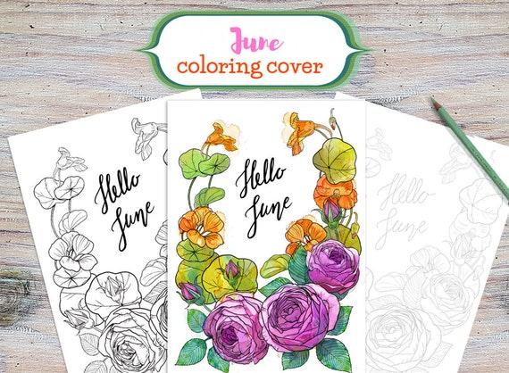 June Cover Hallo Juni Färbung Seite Druck Juni Cover