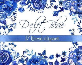 Delft Watercolor Flowers clipart - png and vectors