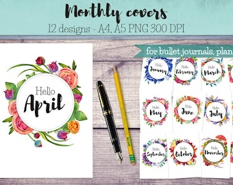 Monthly Covers for Bullet Journals and Planners, Month entry , Month cover, printable bullet journal, printable month cover, planner designs