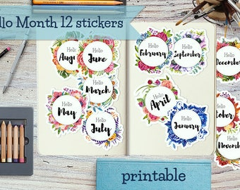 Printable Month Stickers for Bullet Journals and  Planners, watercolor month  sticker, printable stickers, planner stickers, hello month