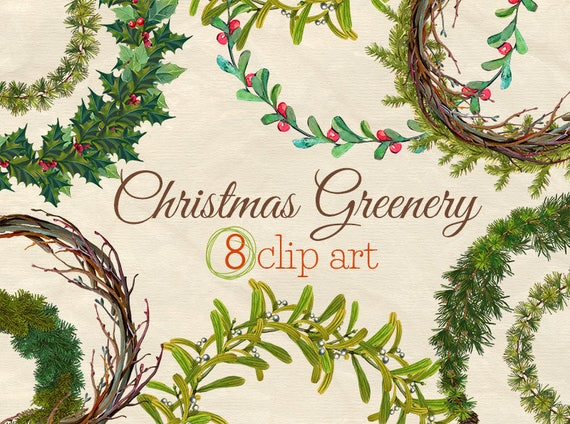 Christmas Greenery.Christmas Greenery Wreaths Set Of 8 Hand Painted Watercolor Clip Art Christmas Watercolor Clip Art Christmas Wreats Clip Art Xmas Art