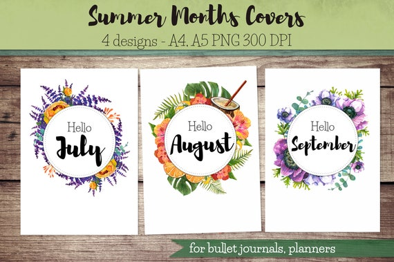 summer months covers for bullet journal planner hello july etsy