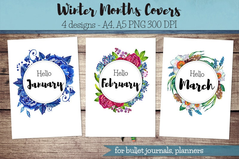 Winter Months Covers Printable for Bullet Journal, Planner / hello January,  hello February, hello March, monthly covers,