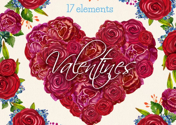 Rose Heart Clipart Valentines Hearts Clip Art Rose Wreath Etsy