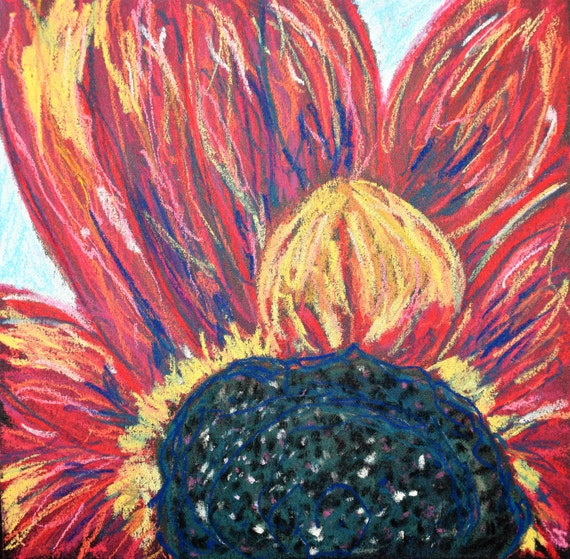 Sunflower, Pastel Painting,