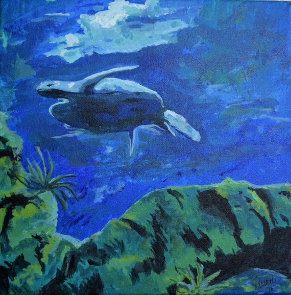 Painting, acrylic, Under the sea, the turtle
