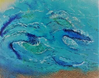 Painting, watercolor, ocean waves