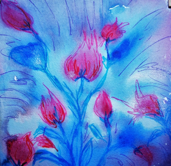 Painting, watercolor, Blue Flowers