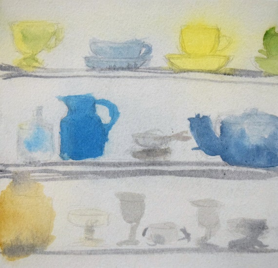 Painting, watercolor, The Cupboard