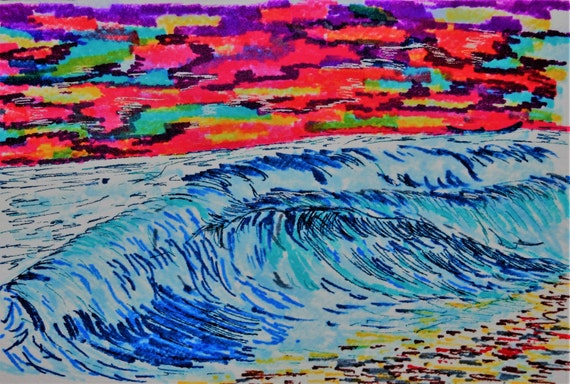 Painting, pen & ink, Ocean at sunset