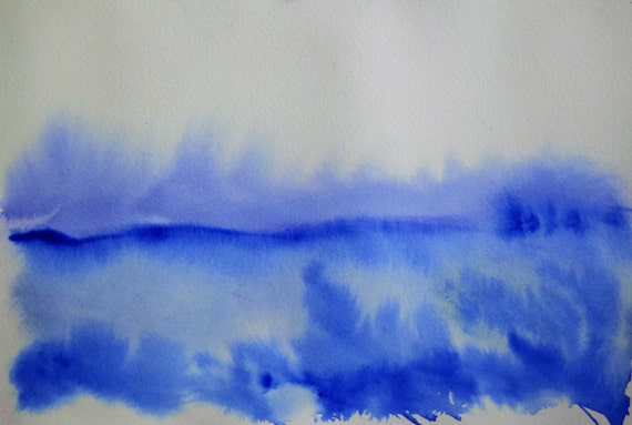 Watercolor painting, Blue horizon
