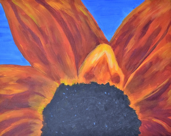 Painting, acrylic, Red Sunflower Under a Blue Sky