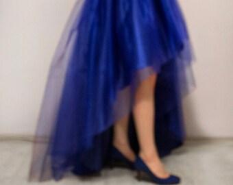 Royal blue tulle skirt Tutu High low skirt Layered skirt Satin skirt Asymmetrical skirt Formal skirt Prom skirt Maxi skirt Made to measure