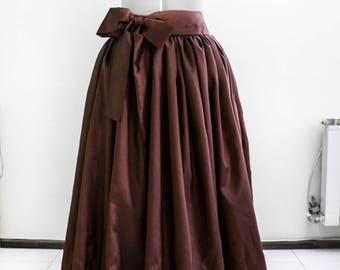 Long taffeta skirt Chocolate maxi skirt Bridesmaid's skirt Removable sash Ball gown skirt Custom skirt Made to measure Brown formal skirt