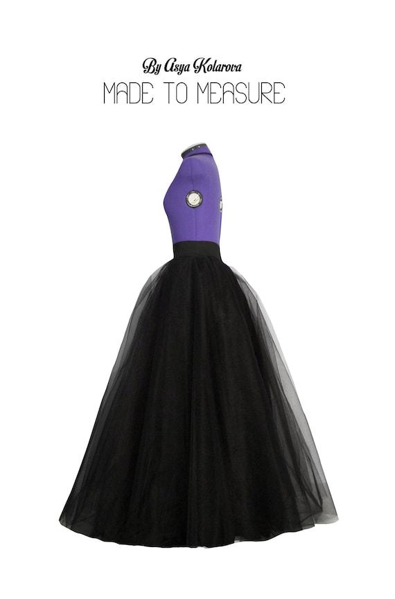 Black ball gown skirt Tulle maxi skirt Long satin skirt Full | Etsy