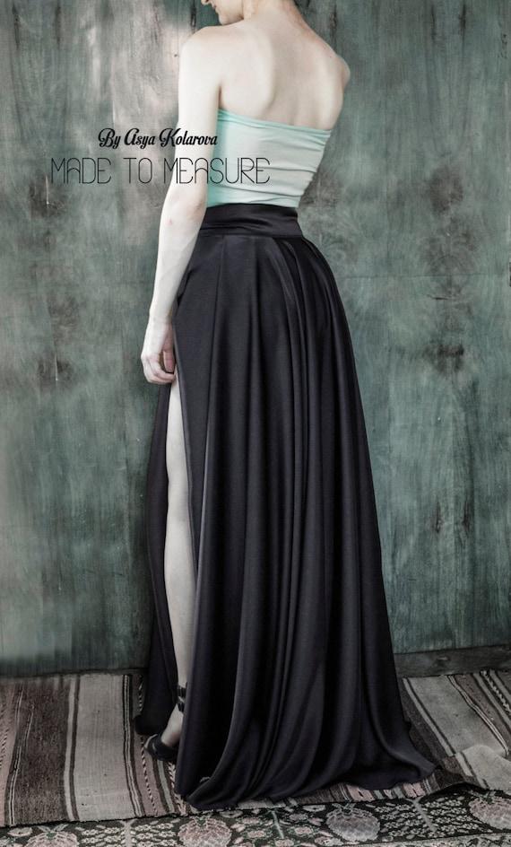 Black Satin Skirt With A High Slit Long Ball Prom Skirt Etsy