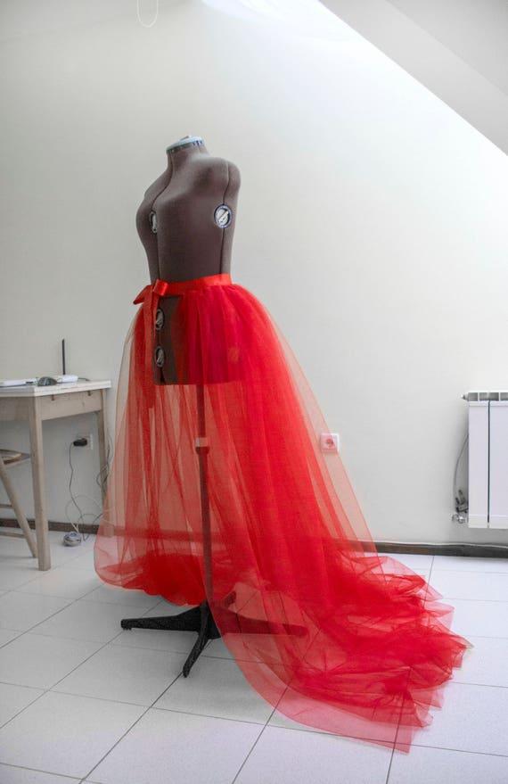 Detachable skirt Red tulle overskirt Wedding train Ball gown | Etsy
