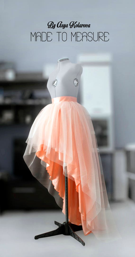 Tulle Wedding Skirt High Low Ball Gown Skirt Blush Layered Etsy