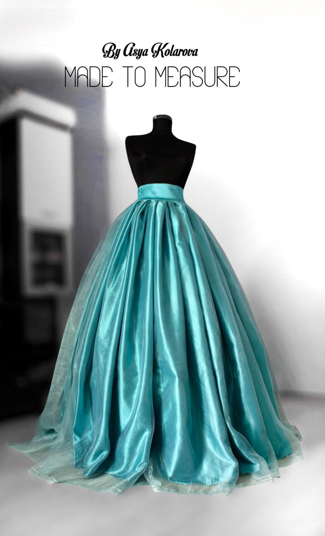 Teal Blur Sheer Curtains Living Room Decorations: Teal Blue Organza Skirt Blush Wedding Gown Satin Wedding