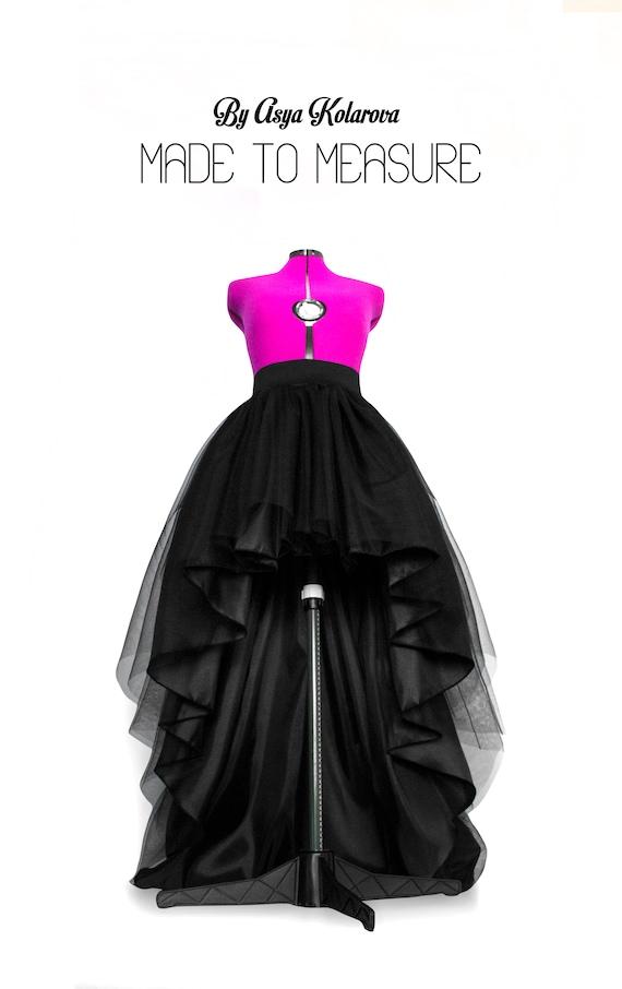 High low tulle skirt Full maxi skirt Long black tulle skirt | Etsy