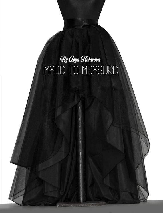 tout neuf 694d5 9d476 Haut bas tulle jupe boule noire jupe ourlet Dip jupe taffetas jupe pleine  jupe mariage personnalisé mariée jupe asymétrique jupe de bal