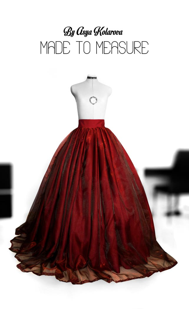 Deep red organza ball gown skirt Full wedding gown Satin | Etsy