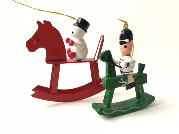 Vintage Rocking Horse with Snowman & Rocking Horse