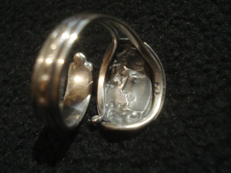 in Solid Silver Of Law 925 Art Nouveau Loops Ring