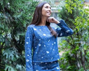 Elisa Sweatshirt -  blue sweatshirt with constellations, made in knit fabric, Starry Animals print