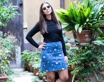 Dora Skirt -  blue skirt with constellations, made in knit fabric, Starry Animals print