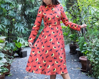Marianna dress -  midi dress with long sleeves and collar, Cat on the Moon print