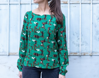 Erika Blouse -  green blouse with long sleeves and bow, Night In The Woods print