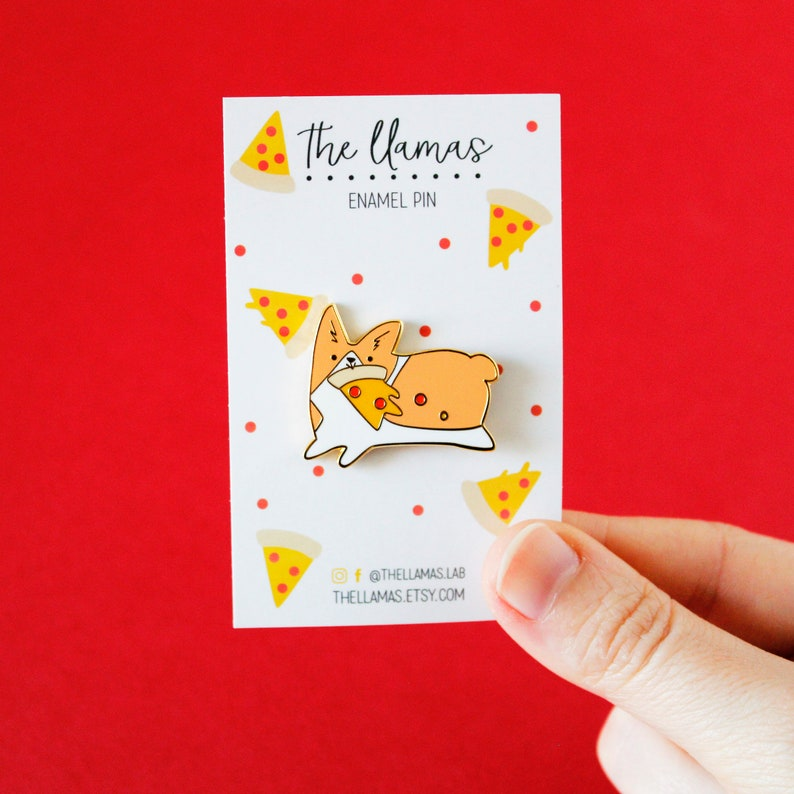 Corgi with pizza  hard enamel pin image 0