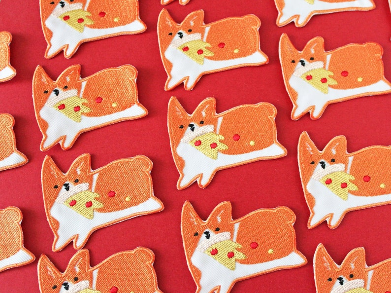 Corgis with pizza  iron on embroidered patch image 0