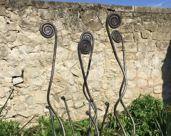 Set of 5 Garden Plant Stakes - Hand Forged - 'Corkscrew'