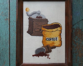 Vintage Coffee Cross stitch-Unique Art for your Coffee Station (Hand Mill and Bag of Coffee)