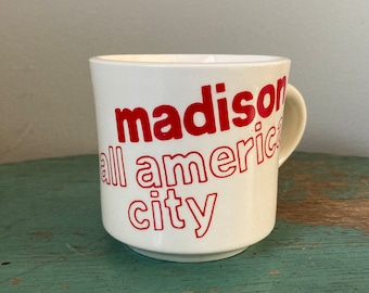 Vintage Souvenir Mug- Madison All American City (R and N China Co- Carrollton Ohio)- White Ceramic with Red Letters