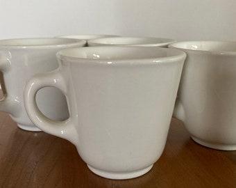 Set of 5 Vintage Coffee/ Diner Mug (Homer Laughlin China- USA) Off-White Ceramic