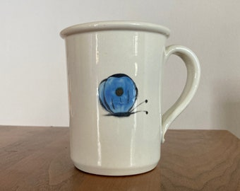 """Vintage Hand Painted Blue Butterfly Mug- White Ceramic with Blue Butterfly (Marked """"KM"""")"""