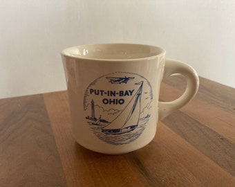 Vintage Coffee Mug- Put-In- Bay Ohio (W. C. Bunting Co.- East Liverpool, Ohio)- White Ceramic with Blue Graphic (Put In Bay)