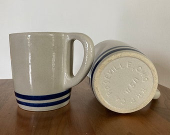 Vintage Coffee Mug Set- Ohio RRP Co. (Roseville USA)- Stoneware With Blue Stripes